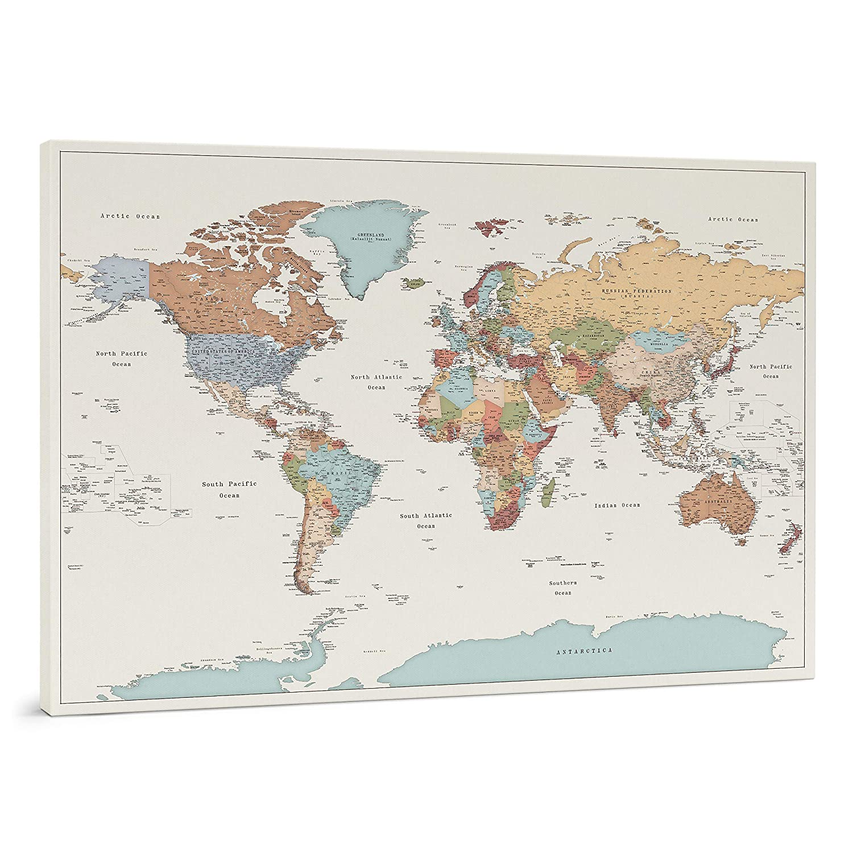 Cartina 1500.Planisfero Da Parete Dettagliato Cartina Geografica Del Mondo Con Puntine Stampa Su Tela Diario Di Viaggio 3 Dimensioni Media Grande Gigante Amazon It Handmade