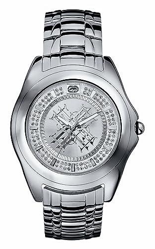 Ecko E12516G1 - Reloj analógico de caballero de cuarzo con correa de acero inoxidable plateada - sumergible a 50 metros: Marc Ecko: Amazon.es: Relojes