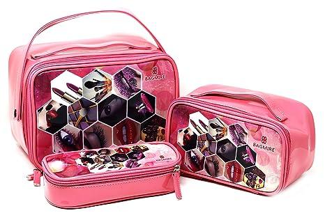 2bce2f573cfe Fusine™ Premium Bagmire Luxury Women s 3 Pcs Set Portable Cute  Multifunction Beauty Travel Cosmetic Bag