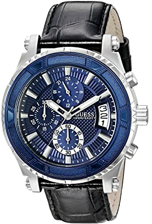 196215fed Image Unavailable. Image not available for. Color: GUESS Men's U0673G4 Sporty  Silver-Tone Stainless Steel Watch with Chronograph ...
