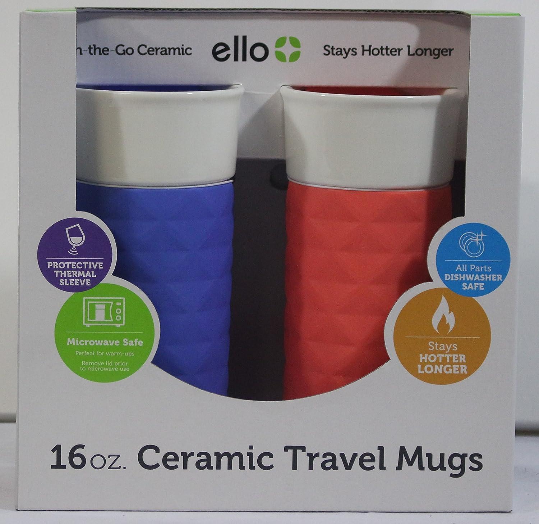Ello Ogden BPA-Free Ceramic Travel Mug with Lid 2pk (2, Coral & Denim) Ello Products
