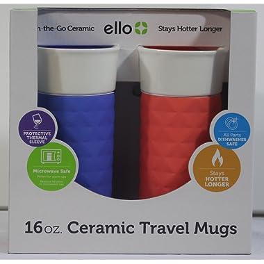 Ello Ogden BPA-Free Ceramic Travel Mug with Lid 2pk (2, Coral & Denim)