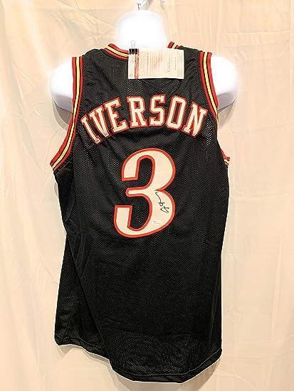 98cf92e15db Allen Iverson Philadelphia 76ers Autograph Signed Black Custom Jersey JSA  Witnessed Certified