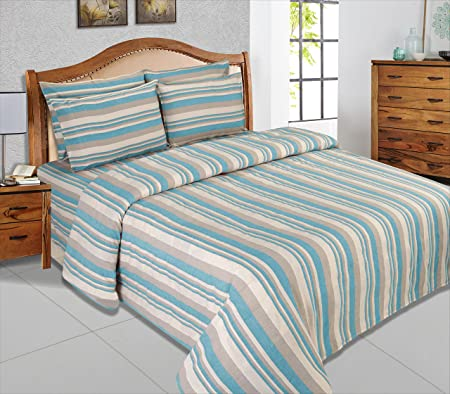 Cloth Fusion Tarana Handloom Striped 300 TC Cotton Bed Cover with 1 Pillow Cover - (Single, Sky Blue)