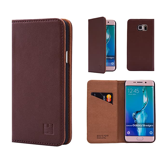 big sale 6b37c 92fdd Samsung Galaxy S6 Edge+ (S6 Edge Plus) Leather Wallet Case Designed by  32nd, Classic Design with Card Slot and Magnetic Closure - Dark Brown