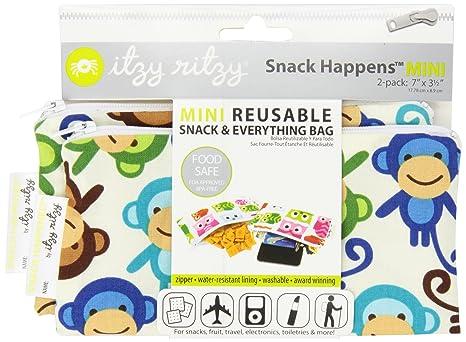 Itzy Ritzy - Bolsa reutilizable (2 unidades, tamaño pequeño), diseño de monos