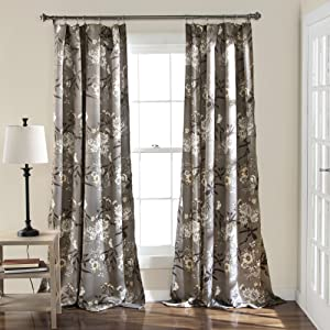 "Lush Decor Botanical Garden Curtains Floral Bird Print Room Darkening Window Panel Drapes Set for Living, Dining, Bedroom (Pair), 84"" x 52"", Gray"