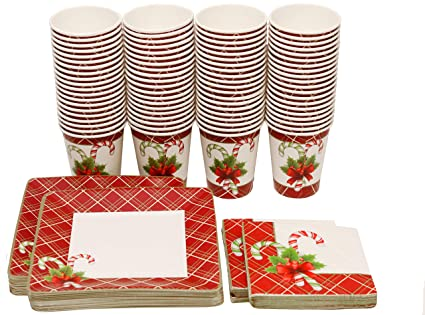 Christmas Paper Plates And Napkins.Christmas Disposable Dinnerware And Holiday Party Bundle 40 Paper Salad Plates 40 9 Oz Paper Cups 40 Napkins Excellent For Winter Holiday New