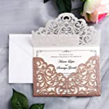 YIMIL 20 Pcs Laser Cut Wedding Invitation Card with Envelope for Wedding Quinceanera Bridal Shower Baby Shower Party…