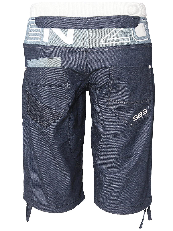 Ze Enzo New Mens ENZO Branded Coated Denim Ribbed Shorts All Waist Sizes