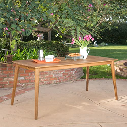 Christopher Knight Home Cote Acacia Wood Outdoor Dining Table Perfect for Patio with Teak Finish