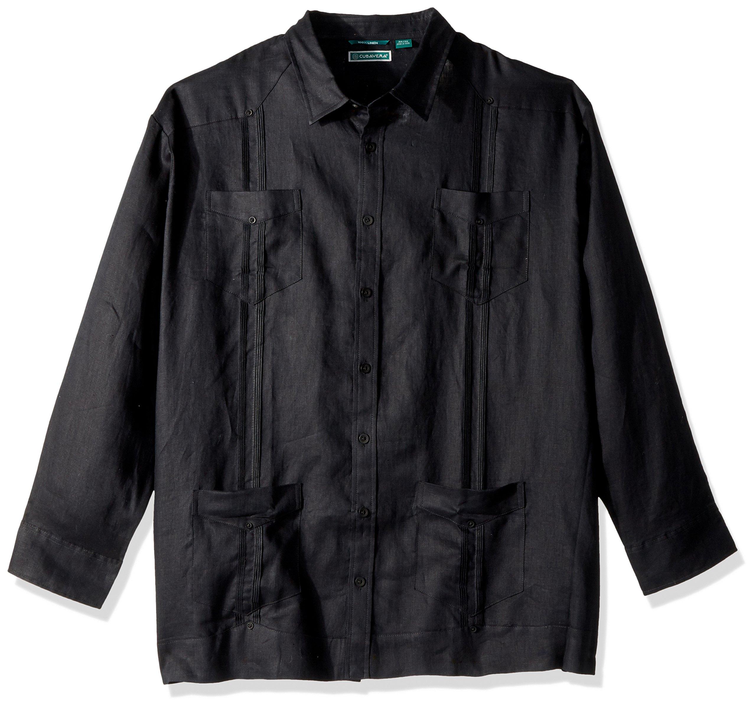 Cubavera Men's Big Long Sleeve 100% Linen Cuban Guayabera Shirt, Jet Black, 4X-Large Tall