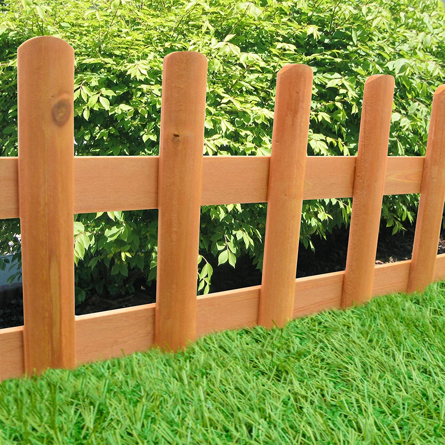 wood picket fence panels. Pack Of 2 Wooden Picket Fence Panels - Outdoor Garden Flowerbed Edging Borders Ready Made Natural Wood For Flower Beds And Paths: Amazon.co.uk: \u0026 ~