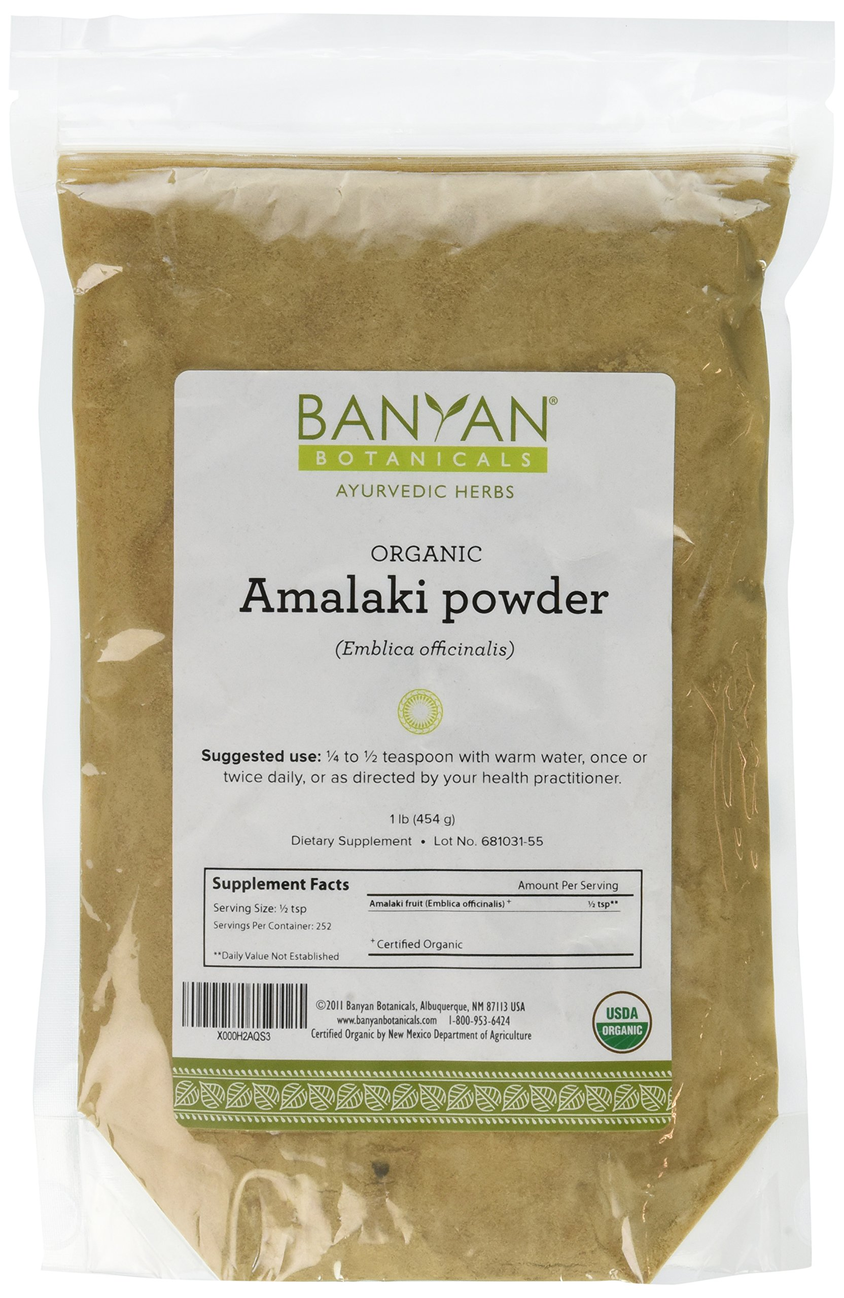 Banyan Botanicals Amalaki (Amla) Powder, 1 Pound - USDA Organic - Emblica officinalis - Ayurvedic Antioxidant for Hair, Skin, & Digestion*