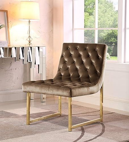 Iconic Home Moriah Accent Chair Sleek Elegant Tufted Velvet Upholstery Plush Cushion Brass Finished Polished Metal Frame