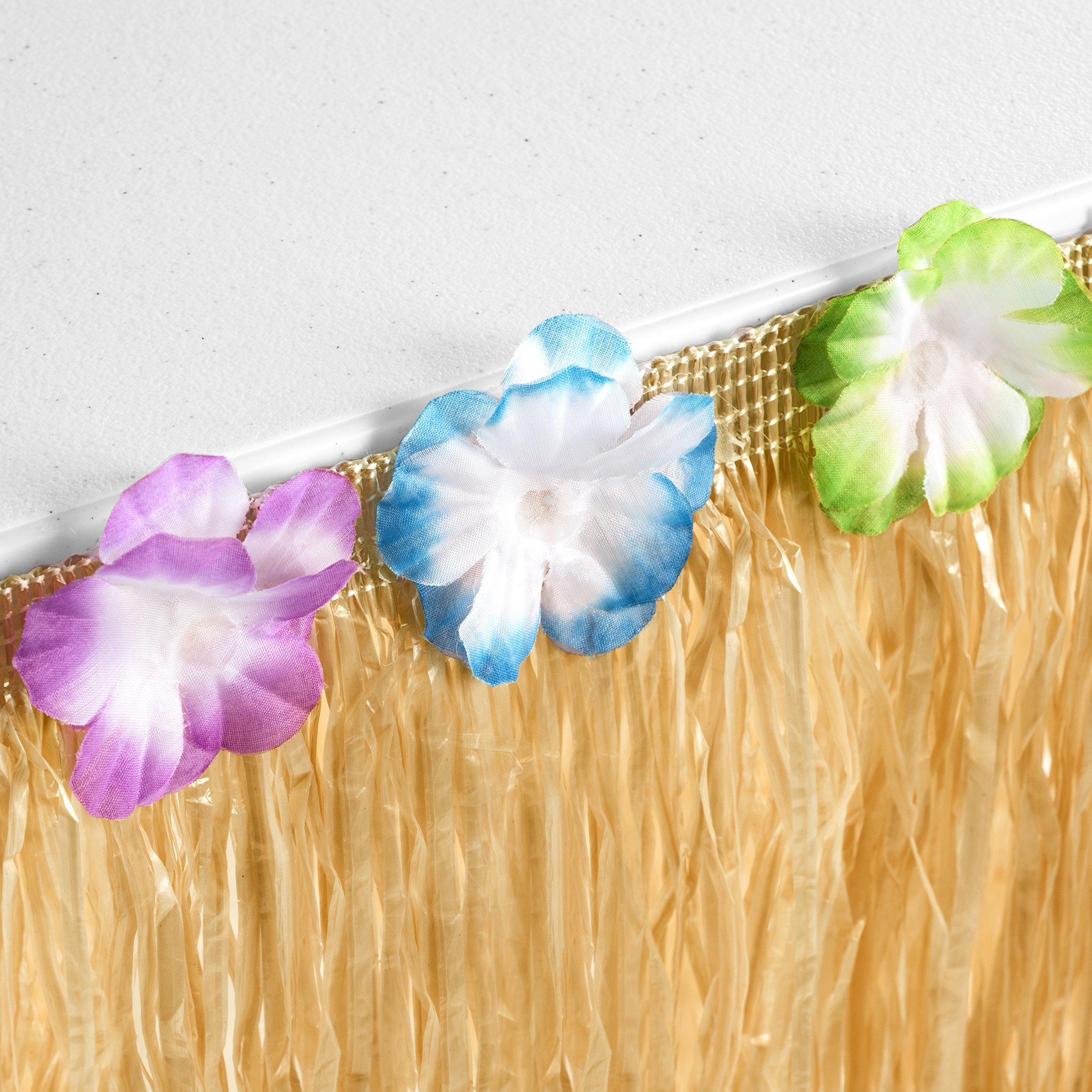 Hawaiian Luau Grass Table Skirt: BONUS 12 Hibiscus Flowers | Includes Adhesive | Perfect Beach, Tiki, Tropical, Island, Party, Luau Decoration 9ft by Luau Essentials (Image #6)