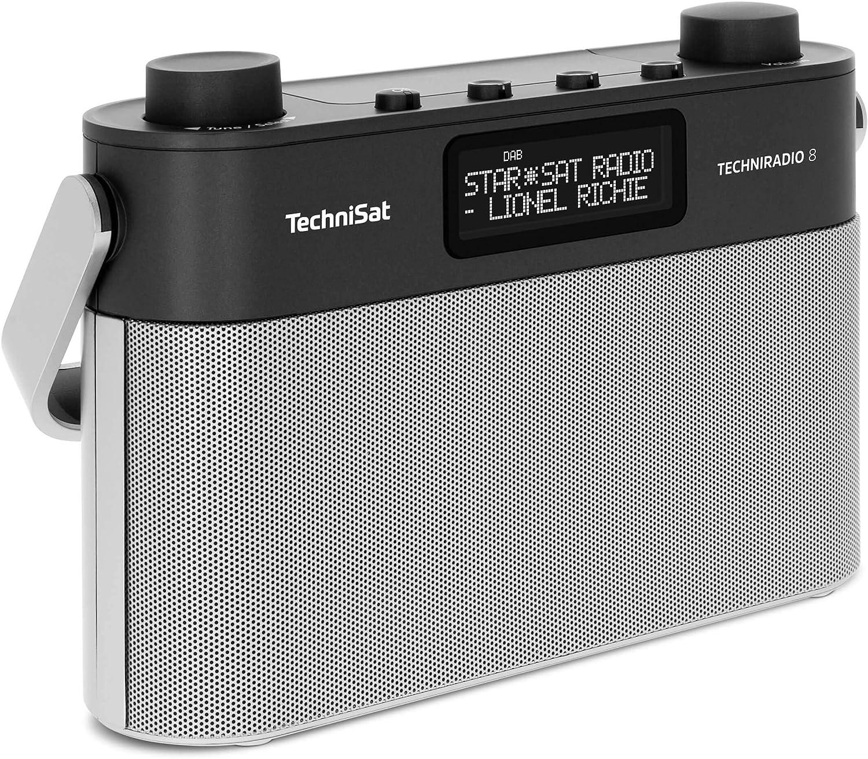 Technisat Techniradio 8 Portable Digital Radio With Carry Handle Dab Fm Stereo Voice Prompts Radio Alarm Clock Headphone Jack Mains And Battery Operated 6 Watt Black Silver Home Cinema Tv