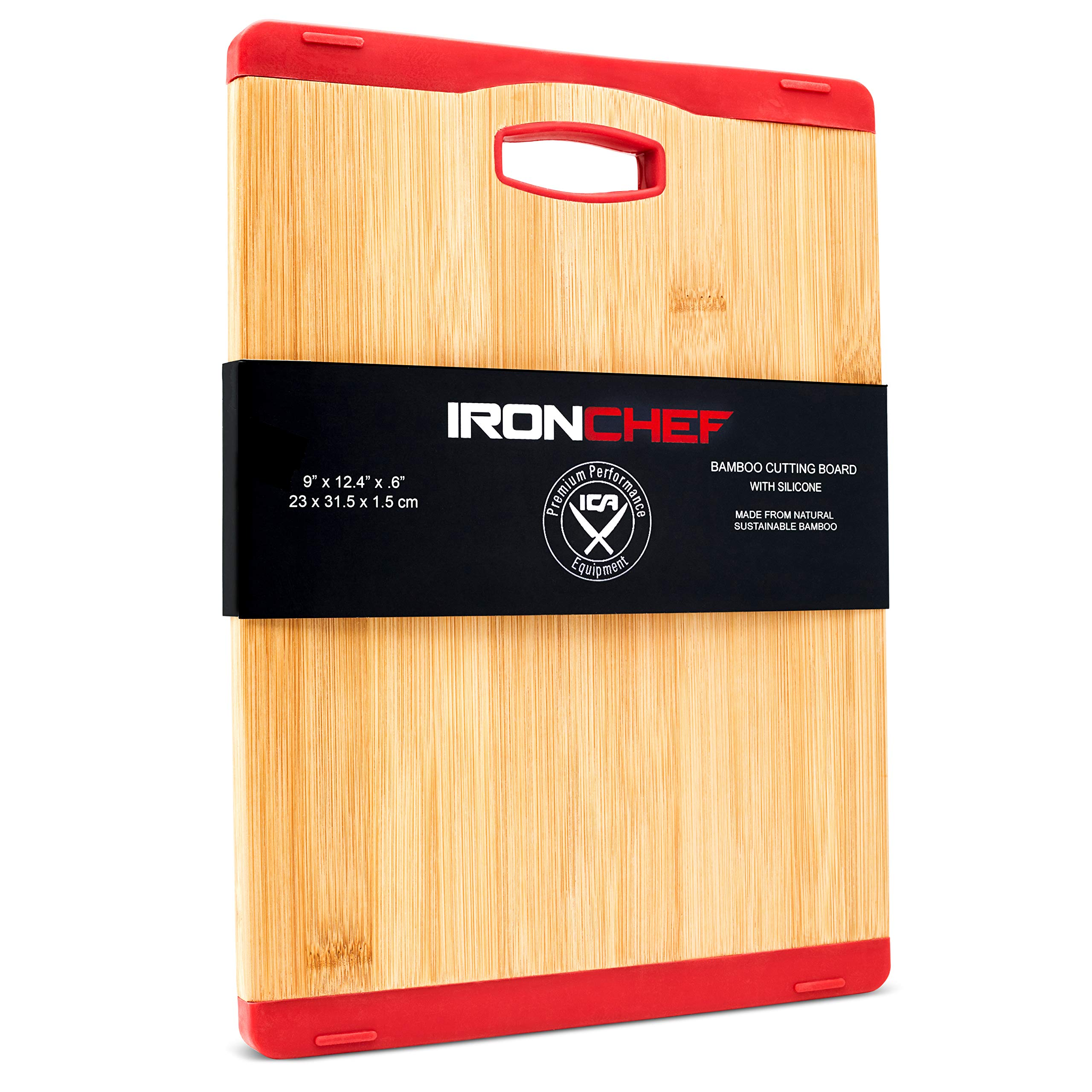 "Iron Chef Bamboo Cutting Board 12.4'' x 9'' x .6"" Reversible All Natural Organic Bamboo Wood Cutting Board with (Red) Non-Slip Silicone Edge"