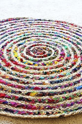 Doormat, Kitchen Or Bathroom Rug, Round Jute And Cotton Bright Accent Rug