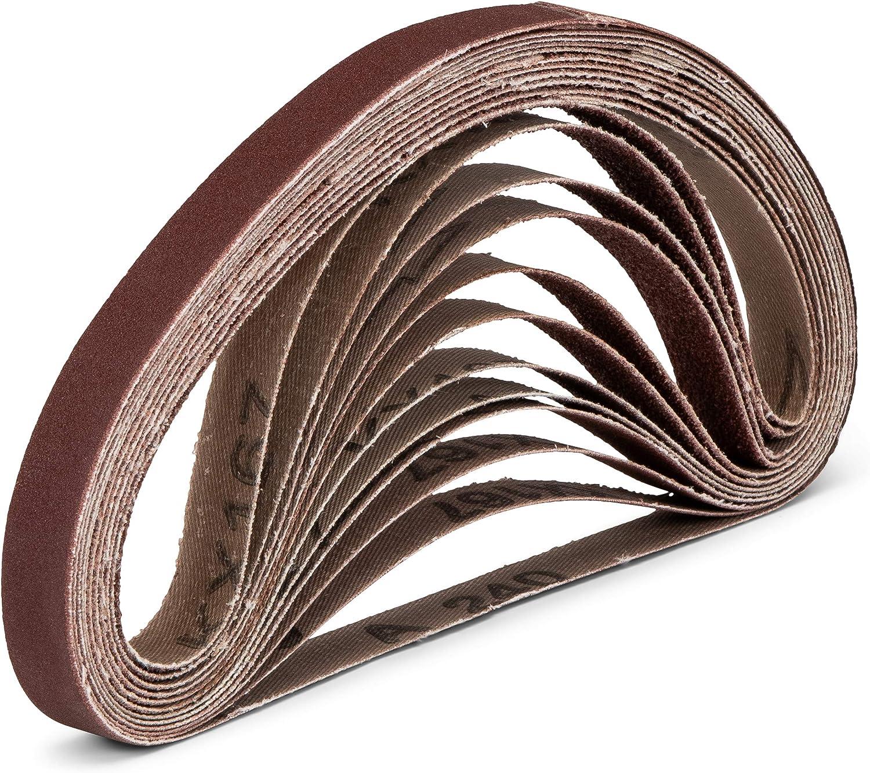 180-240 Papier abrasif Compatible avec Black /& Decker/® Powerfeier 80-120 Lot de 48 bandes abrasives professionnelles en tissu 13 x 451 mm 8 x grain 40-60