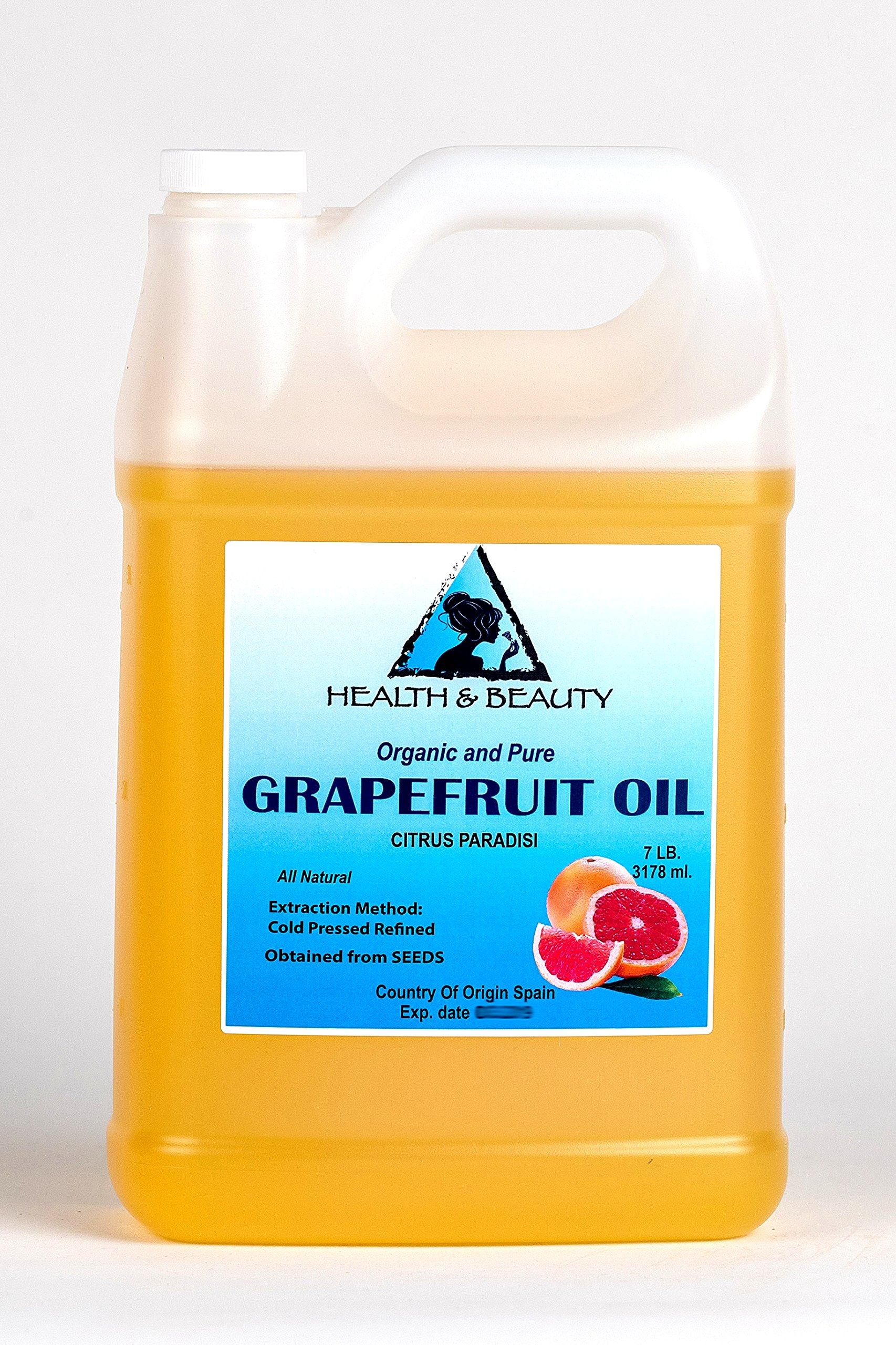 Grapefruit Seed Oil Refined Organic Carrier Cold Pressed Natural Fresh 100% Pure 128 oz, 7 LB, 1 gal by H&B Oils Center Co.
