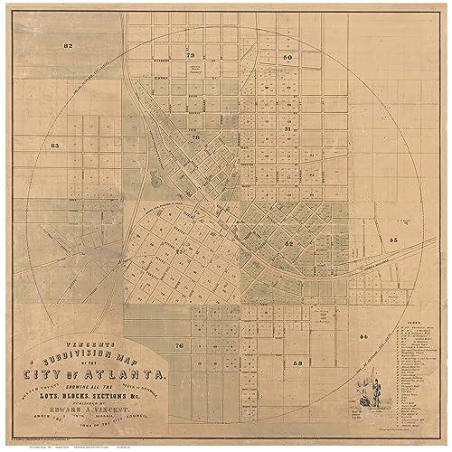 Amazon.com: Atlanta, Georgia 1850 - City Map By E. A. ...