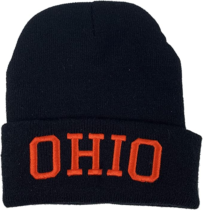 Winter black Ohio state beanie with red script