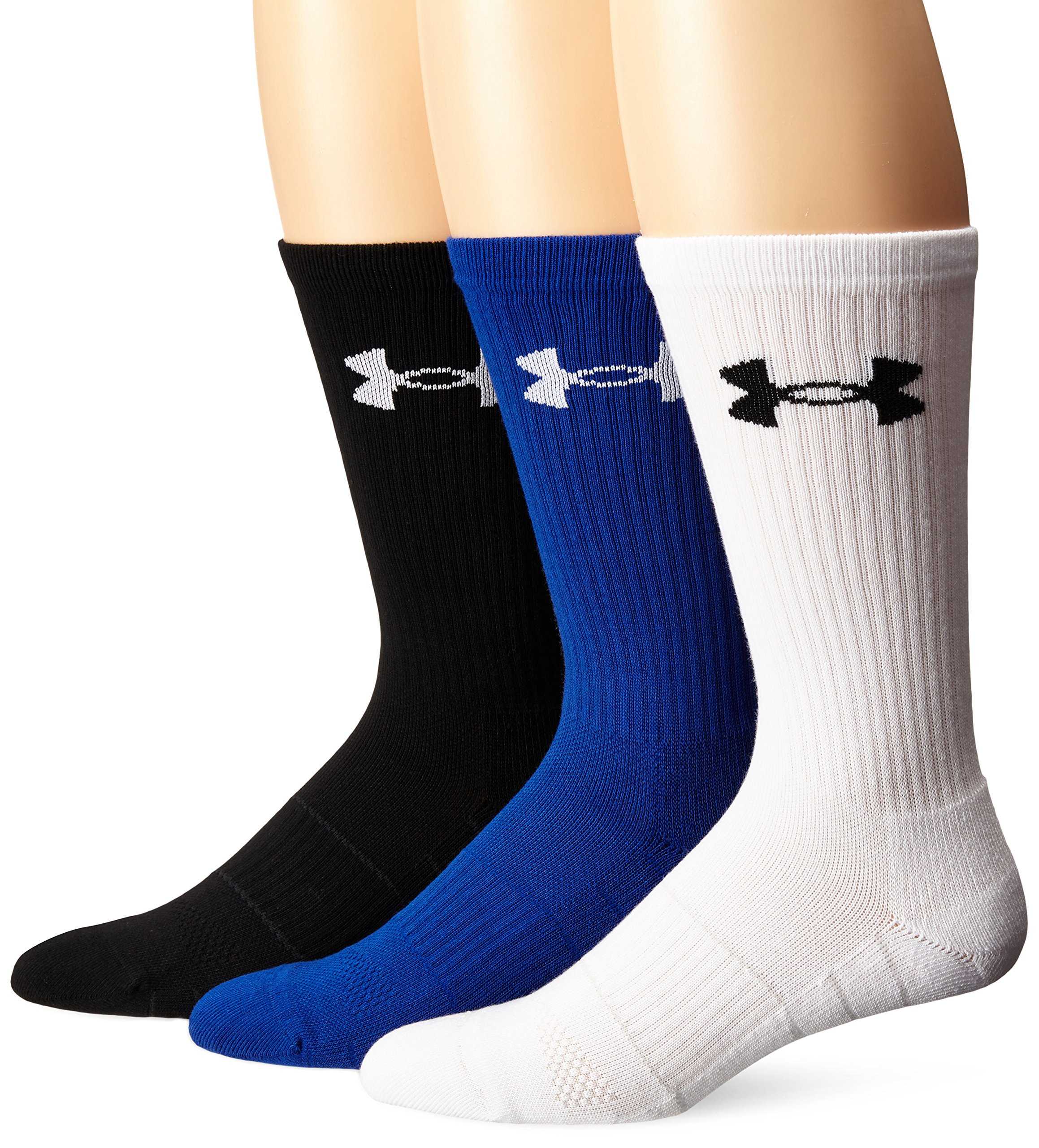Under Armour Men's Elevated Performance Crew Socks (3 Pack), Royal Assortment, Medium by Under Armour