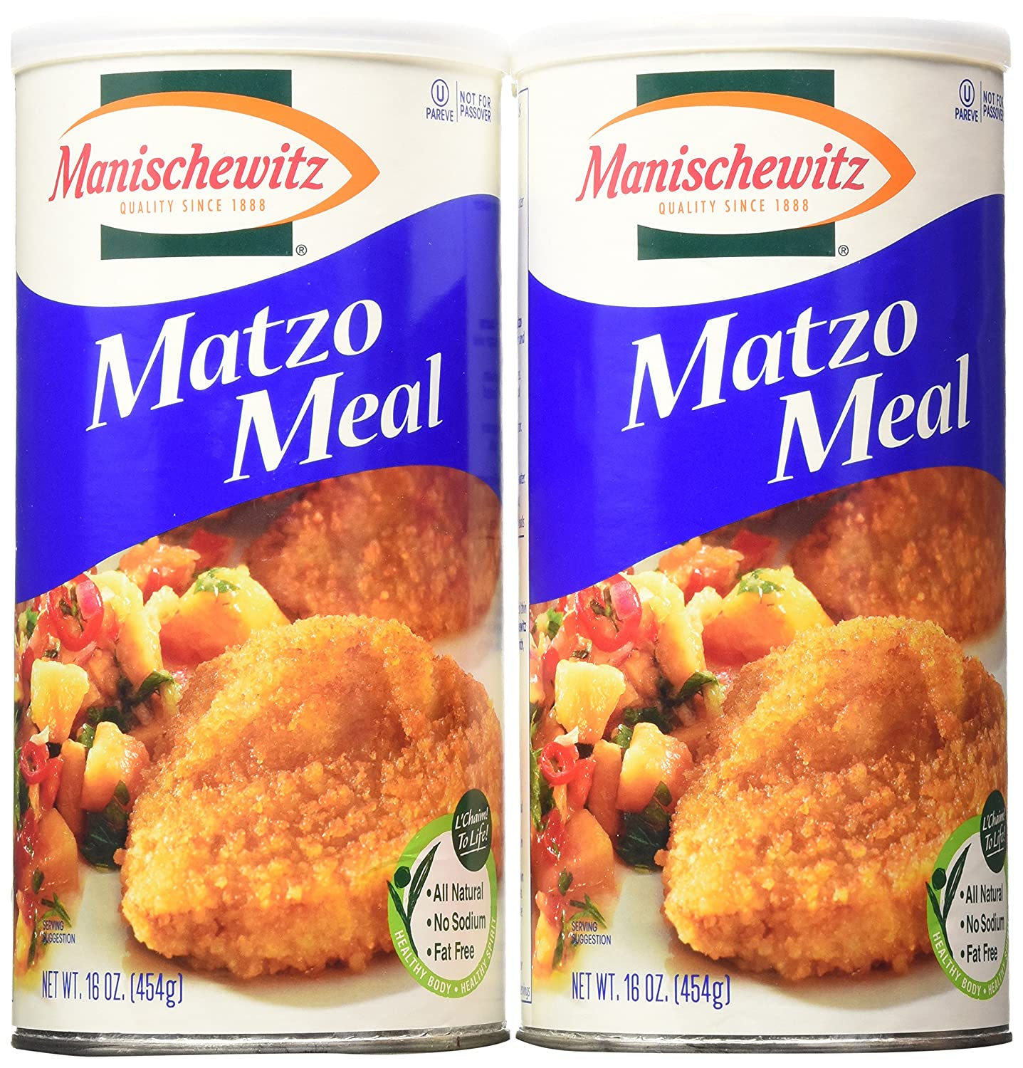 MANISCHEWITZ Matzo Meal Canister, 16-Ounce Tubes (Pack of 4)