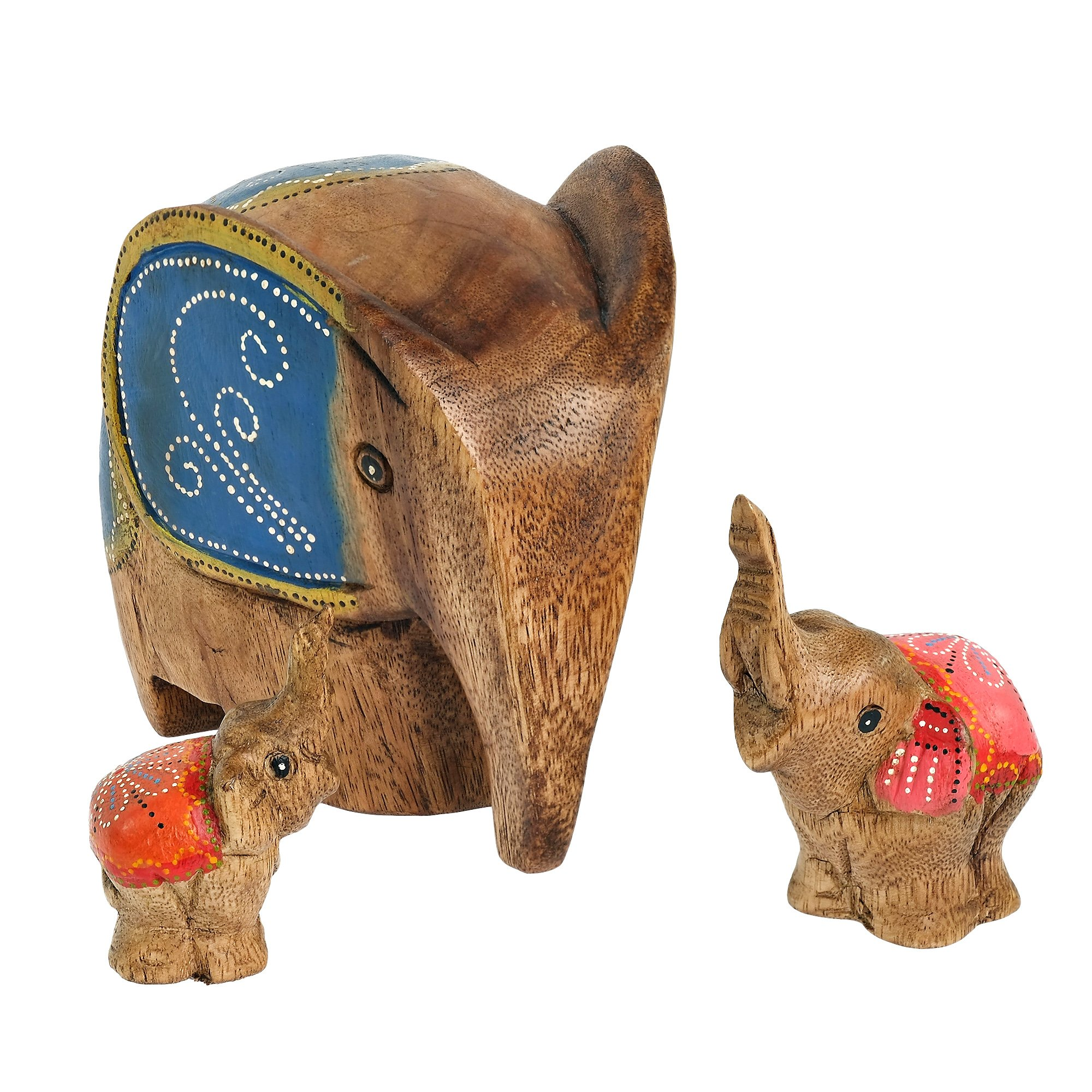 AeraVida Set of 3 Winter Elephant Family Carved Wood Hand Painted Figurine Sculpture