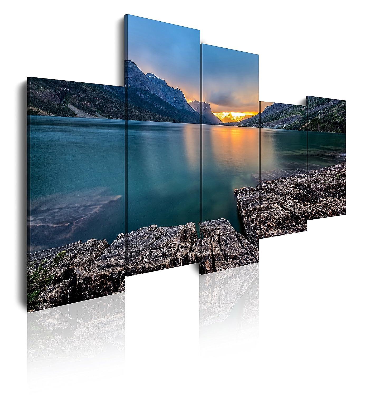 Dekoarte 315 - Quadro moderno su tela montato su telaio in legno di 1 pezzo, tramonto della natura all'orizzonte tra montagne e lago, 120x80cm