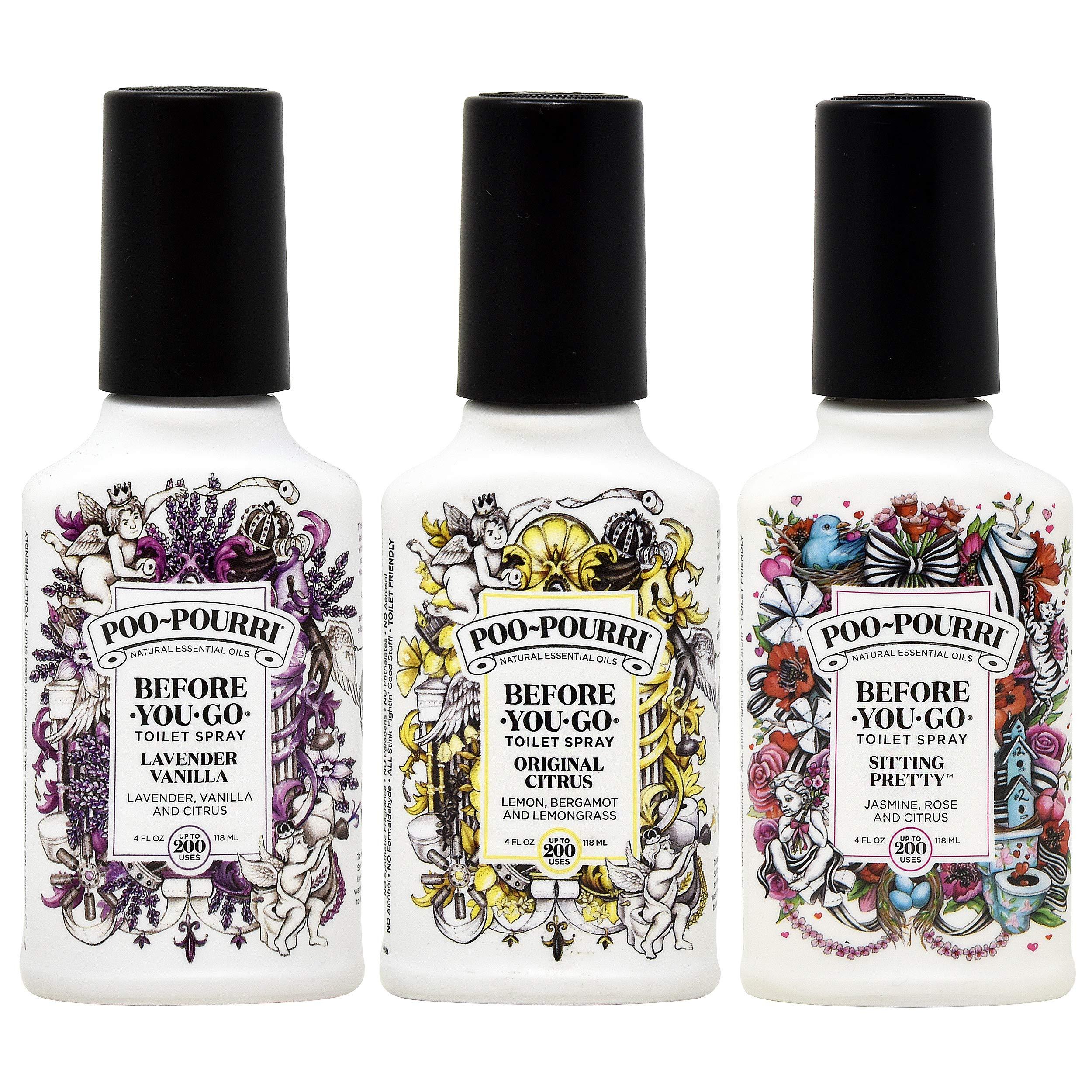 Poo-Pourri Before You Go Toilet Spray Original Citrus, Lavender Vanilla and Sitting Pretty 4 Ounce Bottles