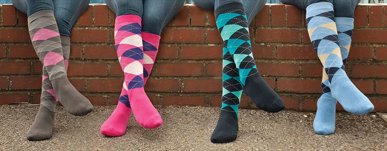Rhinegold 0 Cool & Dry - Calcetines de equitación con suela acolchada, color rosa y azul marino, talla única