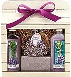 Lavender Spa - Gift Pack - Cream Shower gel - 100 ml, Oil Bath - 100 ml, Gentle Soap - 100 g, Scented Bag. Original Pure Natural Cosmetics.