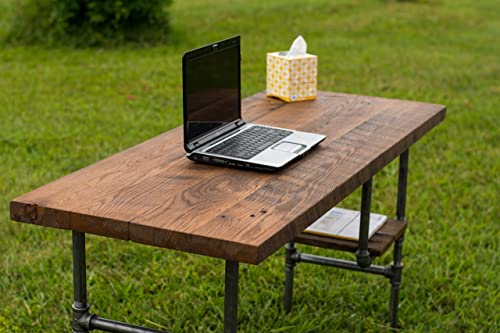 Reclaimed Wood Desk Table – Rustic Solid Oak W 28 Black Iron Pipe legs.