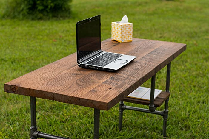 amazon com reclaimed wood desk table rustic solid oak w 28 black rh amazon com rustic wood desk for sale rustic wood desk diy