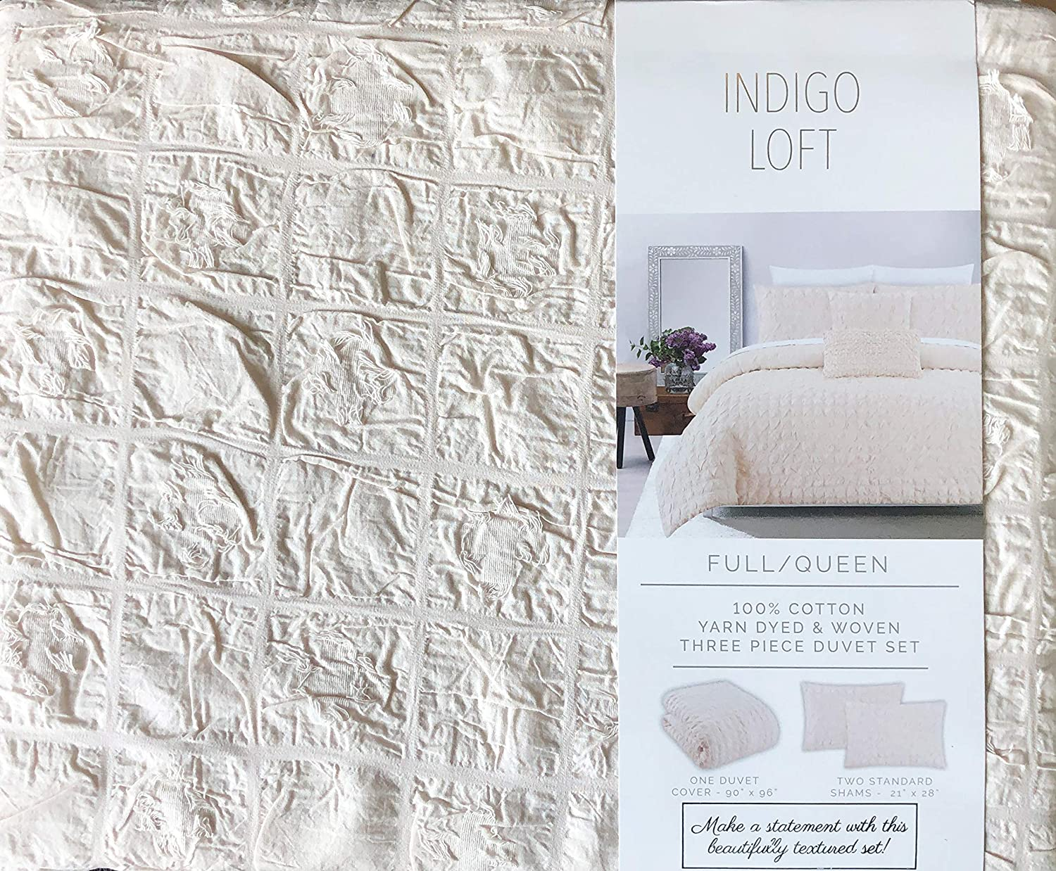 Indigo Loft Solid Cream Light Tan 3pc Duvet Set Textured Ruched Squares With Tufts Farmhouse Pattern 100 Cotton Comforter Quilt Cover With Shams Square Bubbles Eyelash Full Queen Amazon Ca Home Kitchen