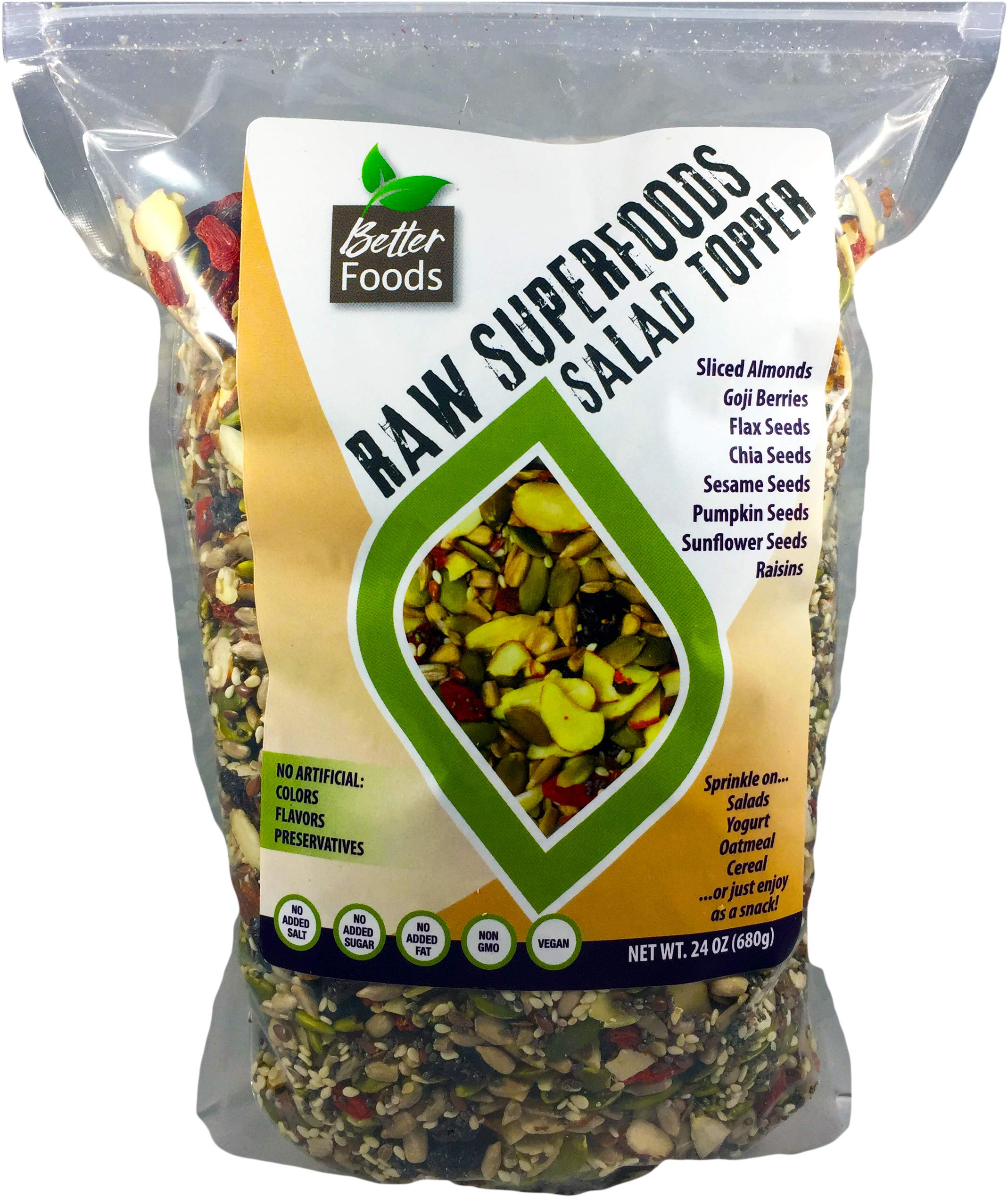 Raw Superfoods Salad Toppings Mix (Goji Berries, Raisins, Almonds, Chia, Flax, Pumpkin, Sesame and Sunflower Seeds) 24 oz by BetterFoods