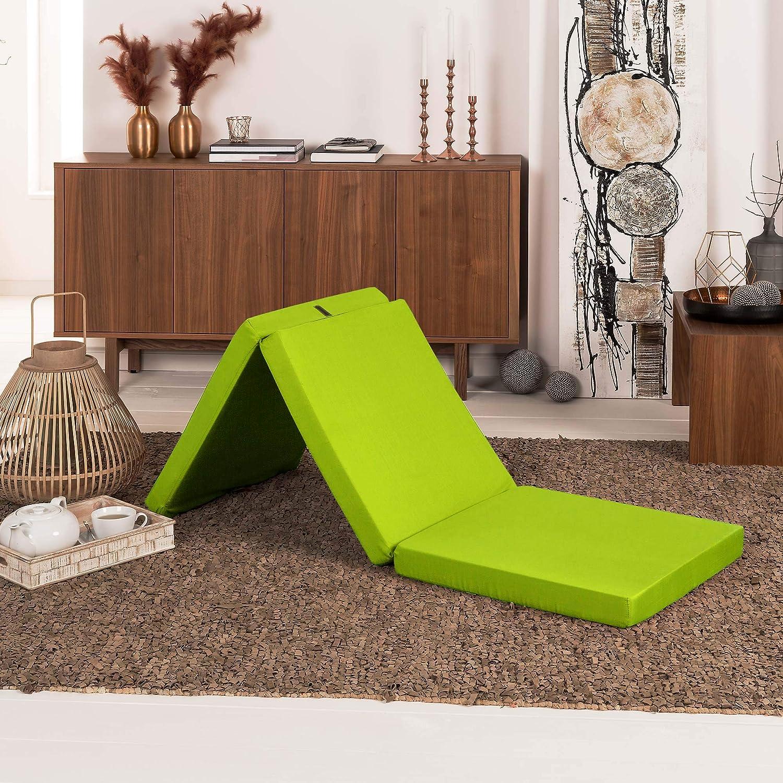 Beautissu Comodísimo colchón Plegable horrar Espacio - Tela de Microfibra - 190 x 80 x 10 cm - Verde