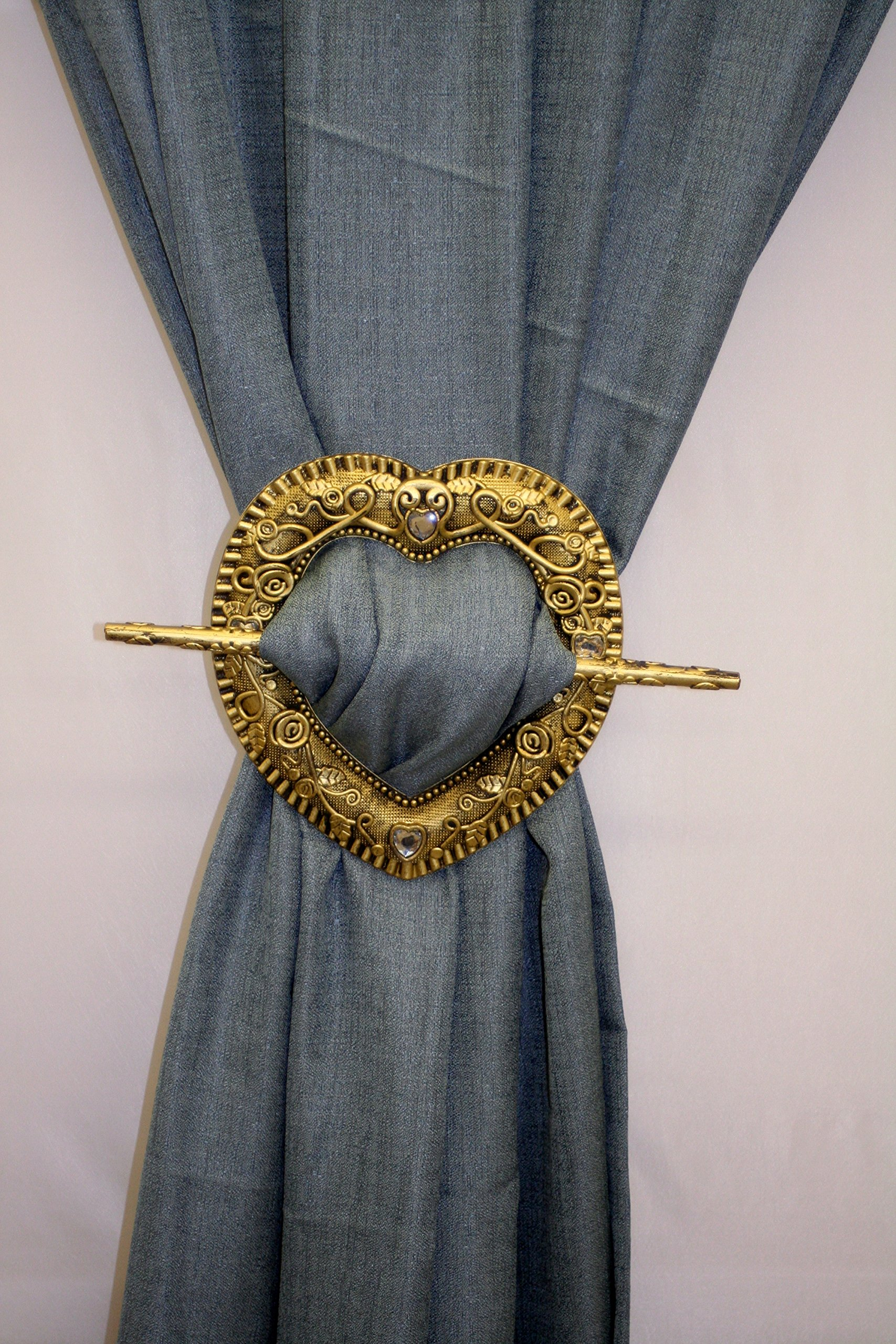 Decorative Heart Barrette Style Panel Holdback Set of 2-Dark Gold by The Curtain Shop