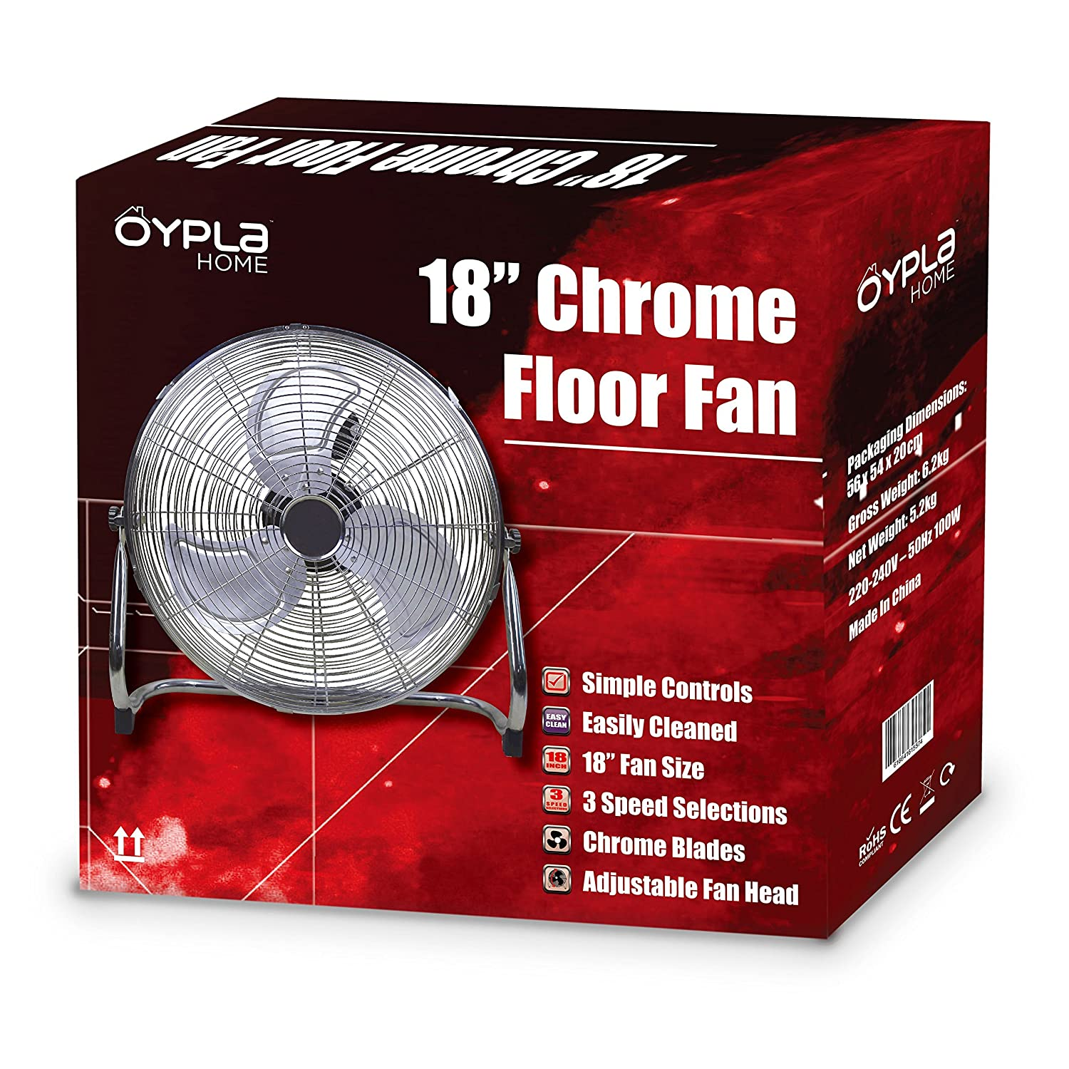 Oypla Electrical 18 Chrome 3 Speed Free Standing Gym Fan Amazonco 115 Volt Bloweer Motor Wiring Schematic Kitchen Home