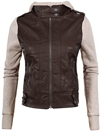 BEKTOME Womens Zip Up Faux Leather Fleece Hoodie Sleeve Moto ...