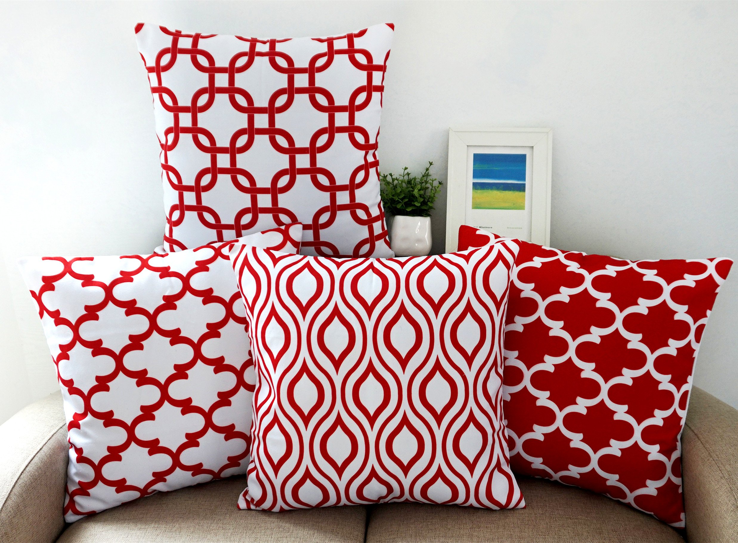 Howarmer Canvas Cotton Square Throw Pillows of Red Arrow Pattern, Quatrefoil, Red Trellis and Red Chevron Accent, 18 by 18 Inch, 4-Pack by Howarmer