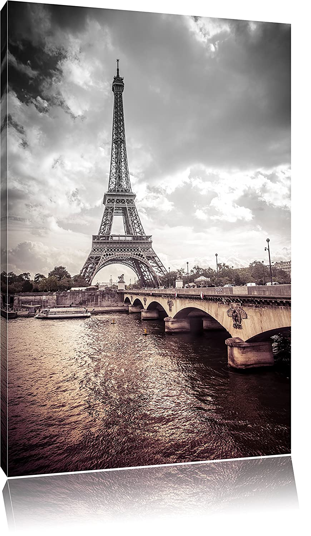 Pixxprint Torre Eiffel a Parigi Stampa su Tela 60x40cm XXL Artistica murale
