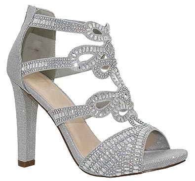 1c5ad38d3 MVE Shoes Women's Open Toe Back Zipper High Heel Party Sandals - Cute  Rhinestone Design Heeled