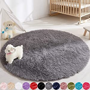 Soft Round Rug for Bedroom, 5'X5' Gray Rug for Nursery Room, Fluffy Carpet for Kids Room, Shaggy Floor Mat for Living Room, Furry Area Rug for Baby, Teen Room Decor for Girls Boys