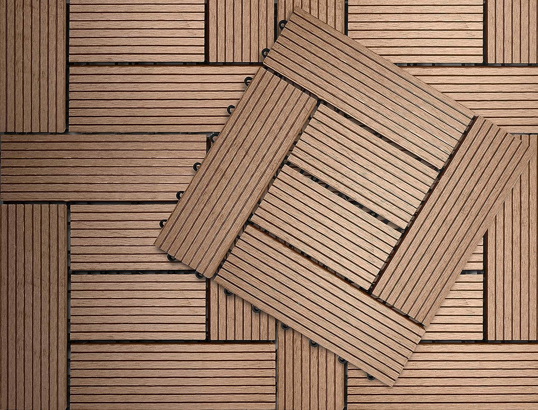 1 sqm, Herbe KLICKEN WPC Dalles Terrasse en Composite DIY Pose Facile Patio Ext/érieur Terrasse de Toit Balcon Zone de Bain
