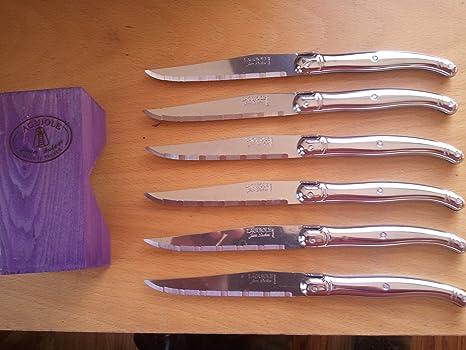 Amazon.com: Jean Dubost Laguiole cuchillos de carne de acero ...