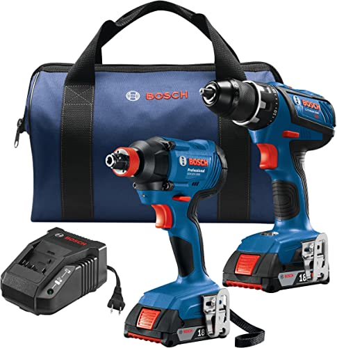 Bosch GXL18V-232B22 18V 2-Tool Kit with 1 2 In. Compact Tough Drill Driver, 1 4 In. and 1 2 In. Two-In-One Bit Socket Impact Driver and 2 2.0 Ah Batteries