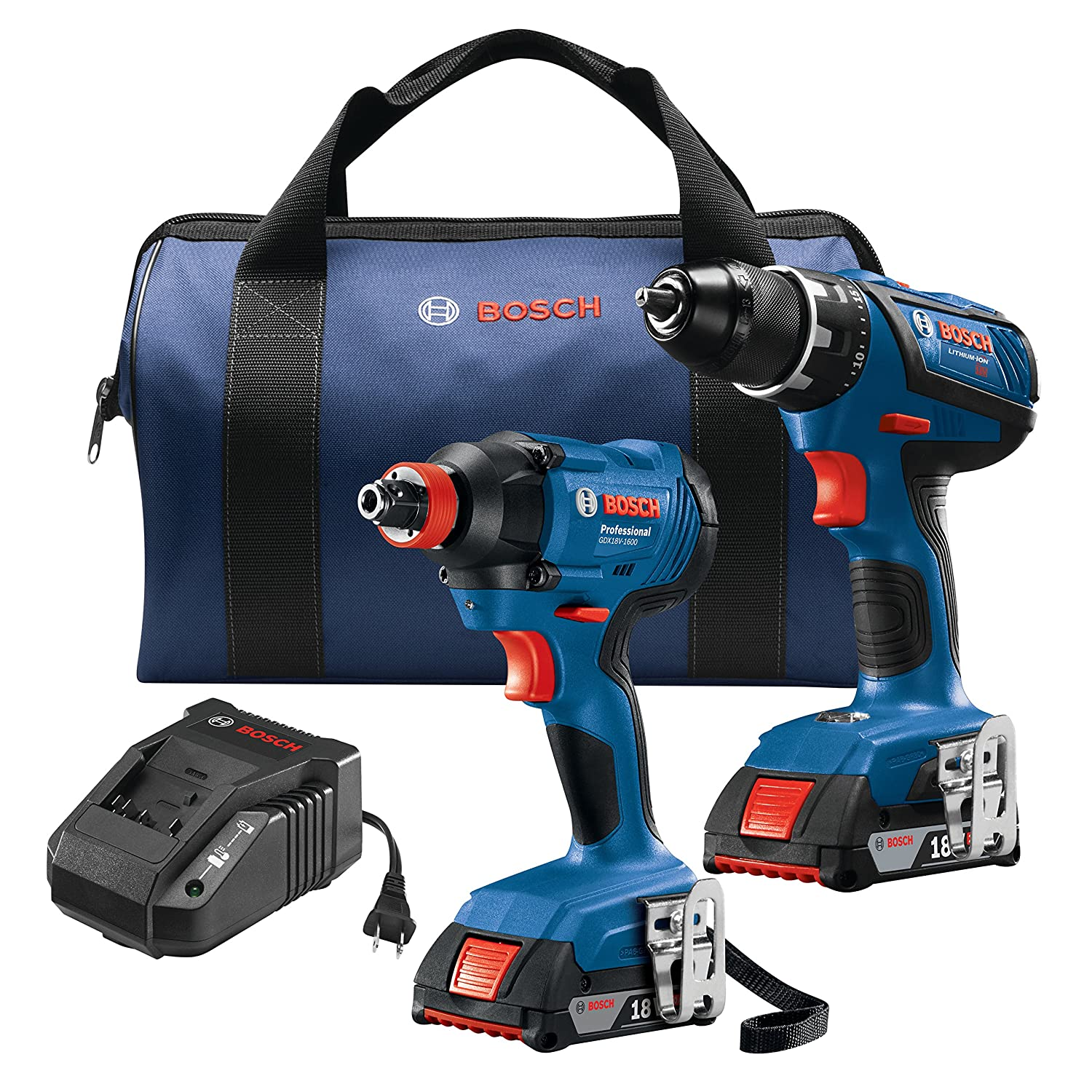 Bosch GXL18V 232B22 18V 2 Tool Kit with 1 2 In. Compact Tough Drill Driver 1 4 In. and 1 2 In. Two In One Bit Socket Impact Driver and 2 2.0 Ah Batteries